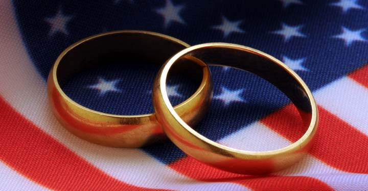 Two wedding bands lying on an American flag