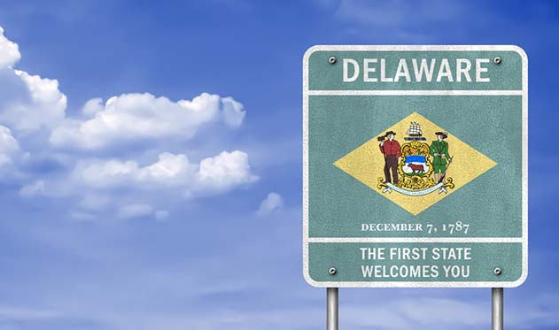 Road sign saying welcome to Delaware