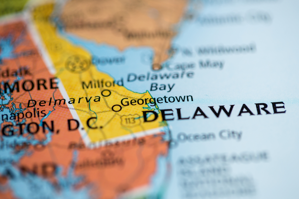 Colorful paper map of Delaware