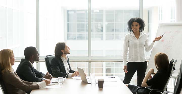 Woman at whiteboard presenting to colleagues