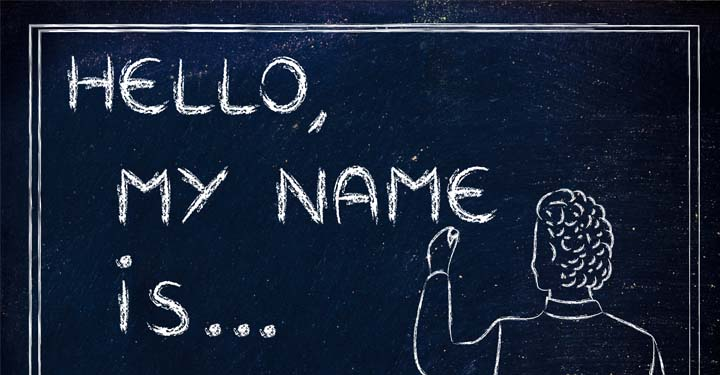 "Chalkboard that reads ""Hello, my name is..."""