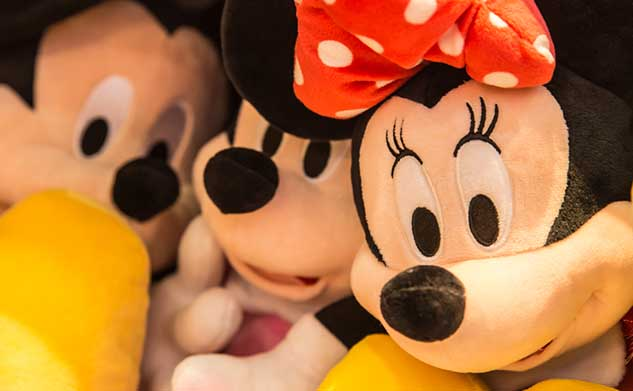 Stuffed animal versions of Minnie and Mickey Mouse